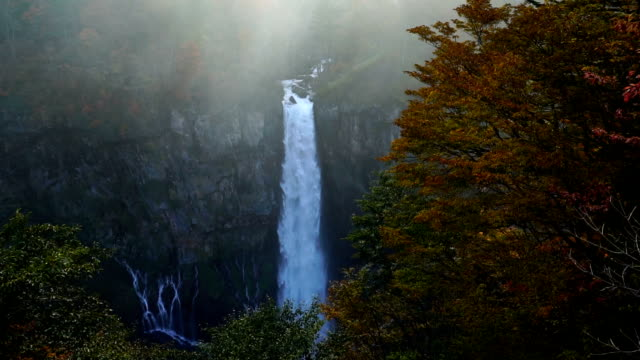 Slow motion FHD footage of Kegon Falls in autumn at Nikko video