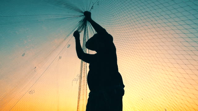 HD Slow motion: Fishermen are fishing with nets