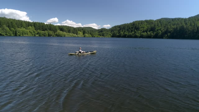 Slow Motion Fishing Aerial of Man Casting From Kayak on Lake video