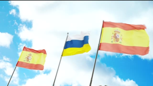 Slow motion Flags of Spain and the Canary Islands video