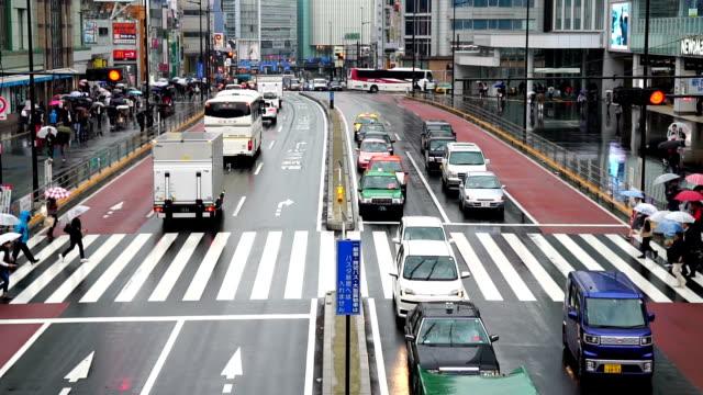 日本のスローモーション映像人群衆歩道橋新宿駅東京都新宿ビジネス地区の建物の間の通りです。 - 渋滞点の映像素材/bロール