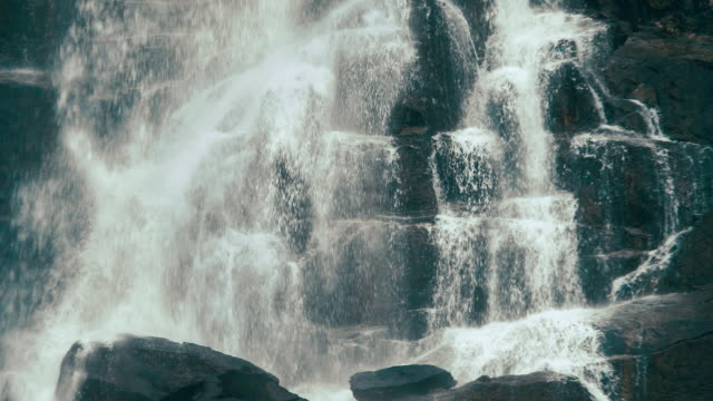 Slow motion footage of Skok waterfall in the Mlynicka dolina in High Tatra mountains, Slovak Republic