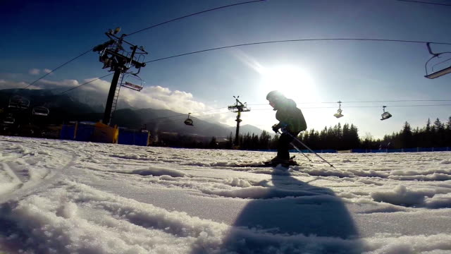Slow motion footage: Young skier - first steps. video