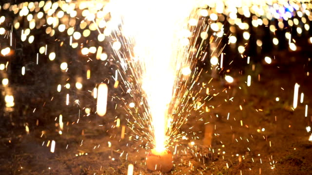 CU Slow motion Fountain Firework on ground in Loi Kratong Festival in Thailand video