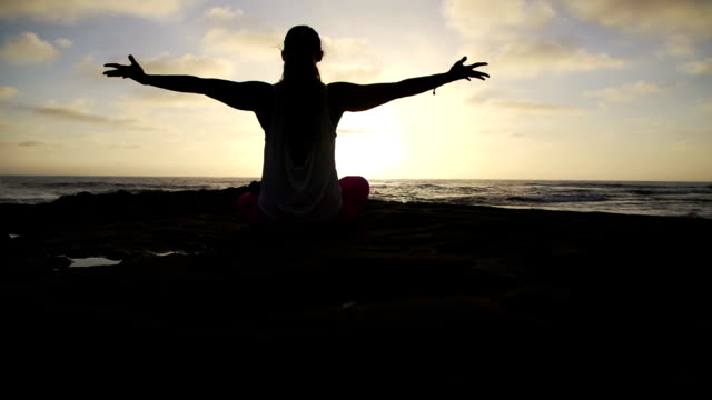 Slow Motion Free Happy Woman Doing Success Yoga Pose At Sunset video
