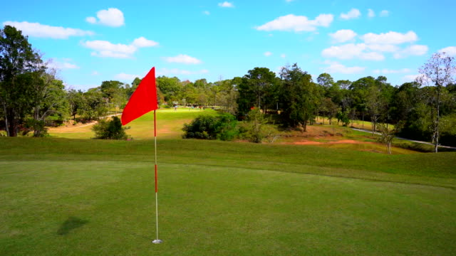 slow motion golf flag on windy in golf course and beautiful fairway and layout on blue sky and green grass - dziura filmów i materiałów b-roll