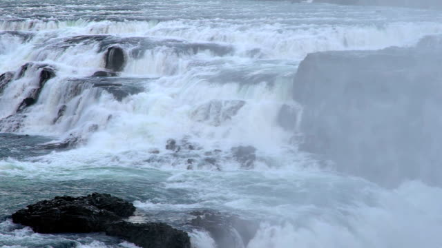 Slow Motion: Gulfoss Golden Falls waterfall Iceland in winter video