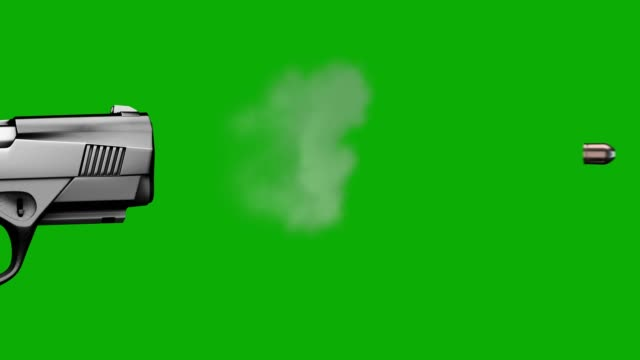 Slow motion gun fire on green chroma screen