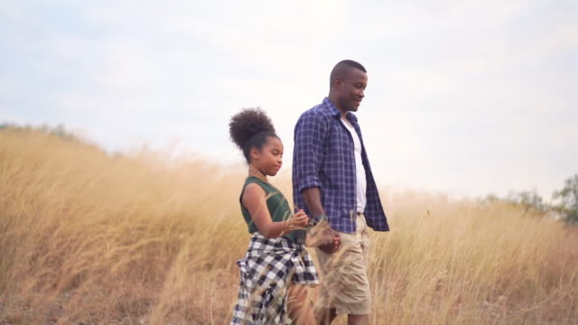 HD Slow motion Happy family African father and daughter hiking and holding hands together. Relaxing father and pretty daughter talking and walking together on golden meadow grass field in summertime