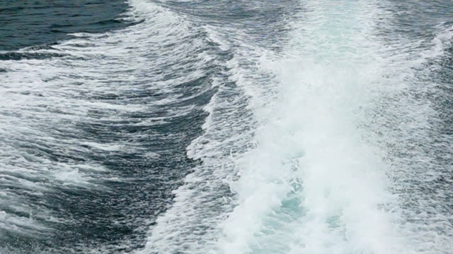 Slow Motion HD: Boat wake on the blue ocean sea video