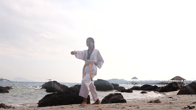 Slow Motion HD: Practising Martial Arts Outdoors On the beach video