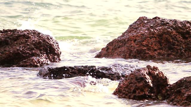 Slow Motion HD: Waves hitting rocks video