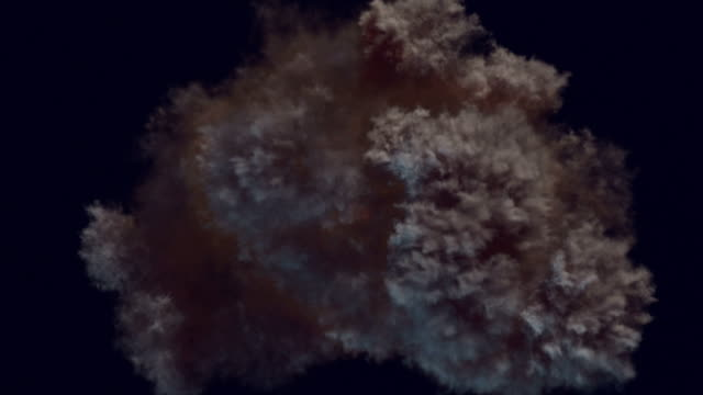 Slow motion highly realistic fire explosions with smoke and alpha matte to compose. 3d rendering Slow motion highly realistic fire explosions with smoke and alpha matte to compose over a dark background, top view. 3d rendering pyrotechnic effects stock videos & royalty-free footage