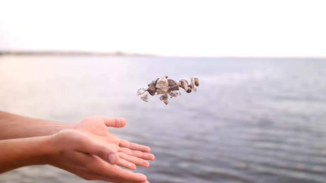 vídeos y material grabado en eventos de stock de cámara lenta - mano humana lanzar piedras en el mar - roca