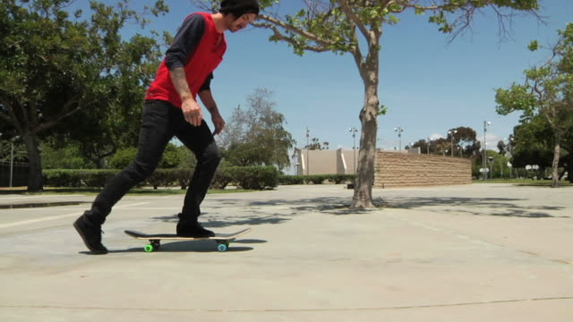 slow motion kickflip close up