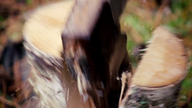 stockvideo's en b-roll-footage met slow motion: man hakken hout. close-up - splitsen