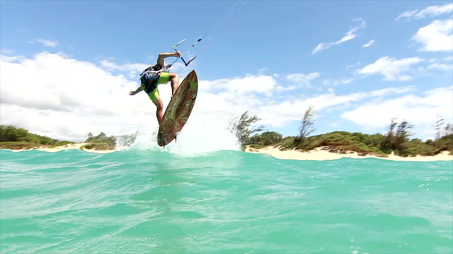 Slow Motion Man Kitesurfing In Ocean video