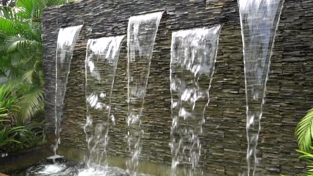 Slow motion : Modern Waterfall in garden decoration