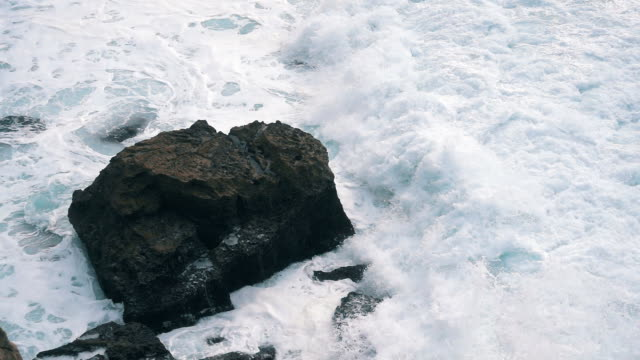 Slow Motion Ocean Waves Breaking on Shore video