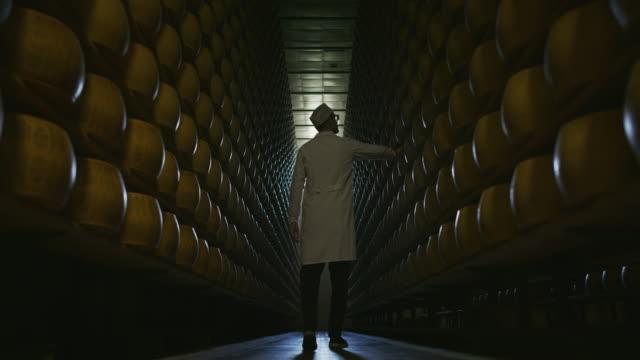 vidéos et rushes de le mouvement lent d'un fromager contrôle les lots d'assaisonnement de roues de fromage parmesan, qui a mûri par la tradition italienne antique pendant beaucoup de mois sur des étagères d'un entrepôt - parmesan