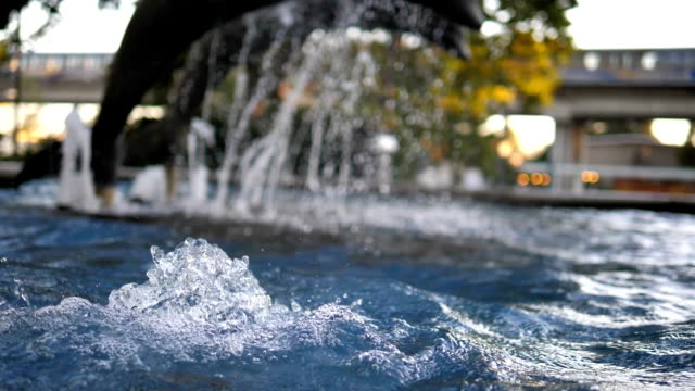 Slow motion of a fountain with statues of bronze dolphins and background skytrain passing by station video