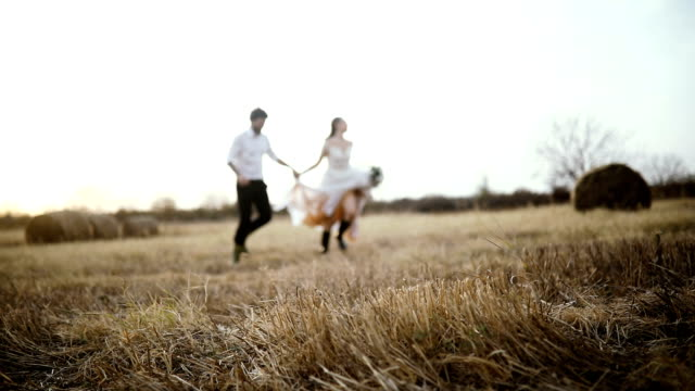 Slow motion of a married couple runs in the meadow