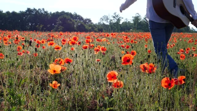 Slow motion of a Young woman with a hat, dressed in white, walking through colourful poppies field full of blossoming flowers at sunset.