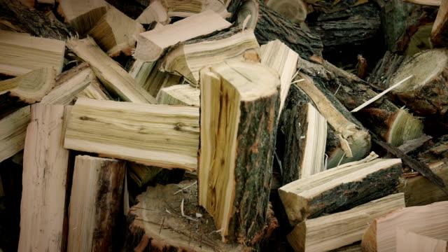 Slow motion of breaking firewood video