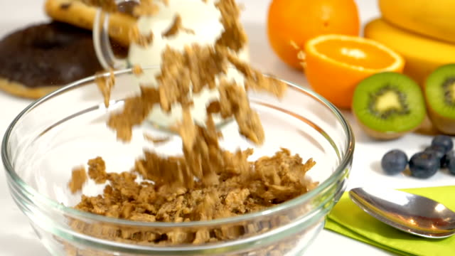 Slow motion of cereals flakes falling in bowl for breakfast video