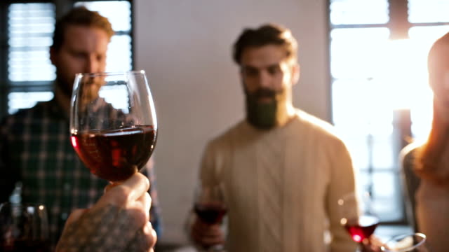 slow motion of group of people toasting with red wine. - office party stock videos and b-roll footage