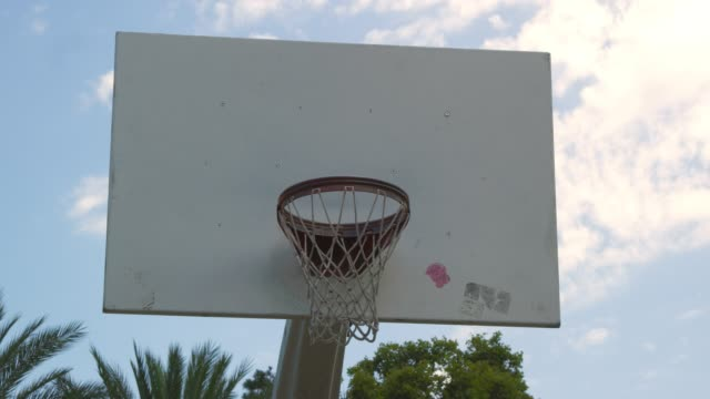 Slow motion of hands hitting basketball net video