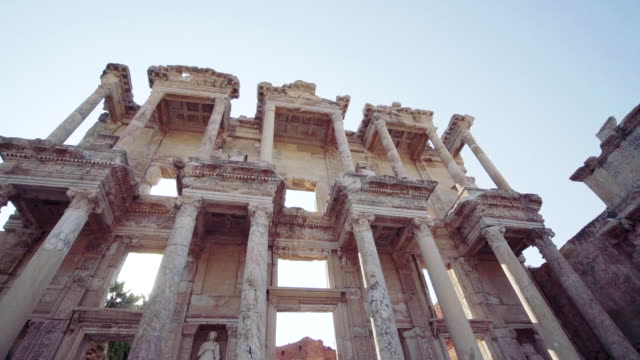 Slow motion of Library of Celsus in Ephesus Ancient City