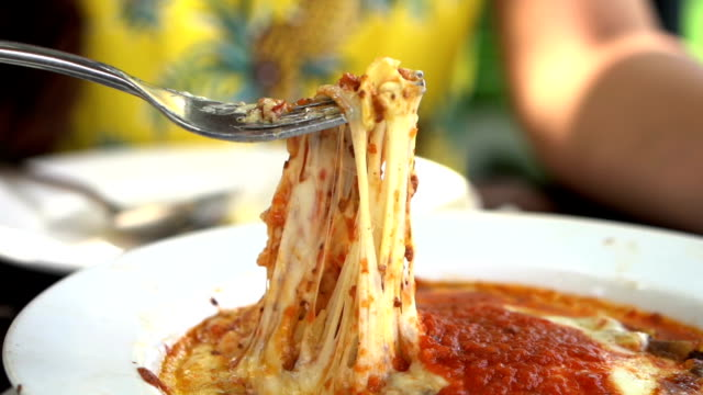 slow motion of  meat lasagna with fork slow motion of  meat lasagna with fork cheese stock videos & royalty-free footage