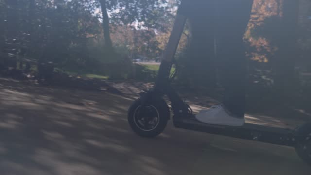slow motion of modern man using electric scooter in sunny park - monopattino elettrico video stock e b–roll
