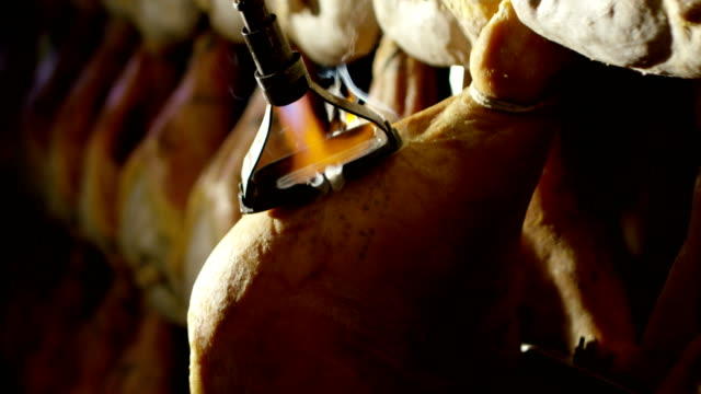 vídeos de stock e filmes b-roll de slow motion of parma ham professional and traditional of the history and culture of genuine and healthy food marking parma crown - presunto