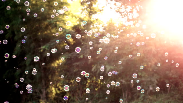 Slow motion of soap bubbles floating in sunset video