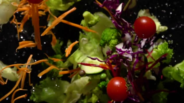 Slow motion of Splashing Salad flying up to camera