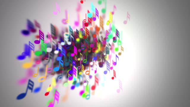 Slow motion of the musical notes with depth of field 4K video