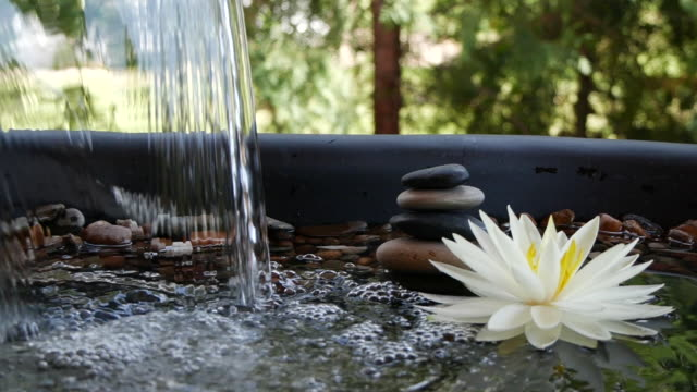 Slow motion of water falling near balance stones and white waterlily flower