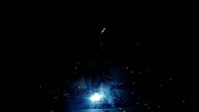 Slow motion of welding process. close up