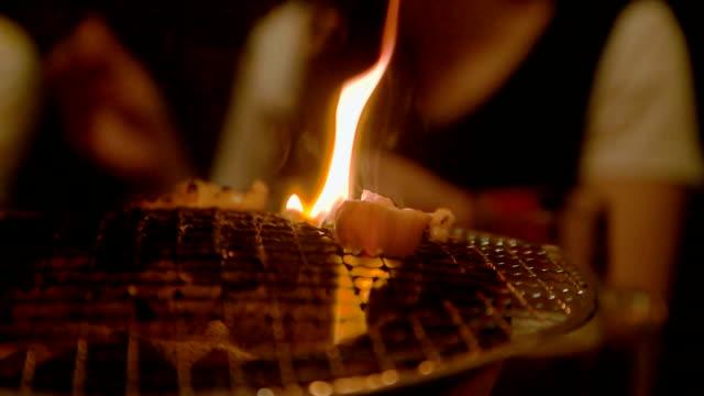 Slow motion of yakiniku. Shichirin grilled. video