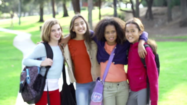 Slow Motion Of Young Girls Hanging Out In Park Together video