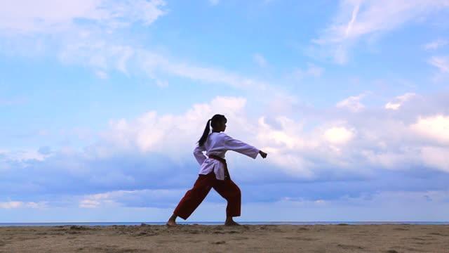若い女性のビーチの屋外 practising 武道のスローモーション。 - 武道点の映像素材/bロール