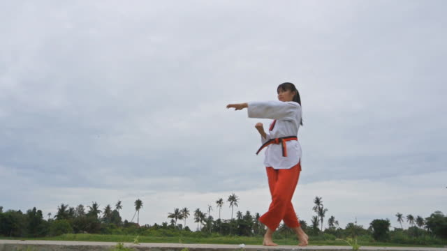 Slow motion of Young women Practising Martial Arts