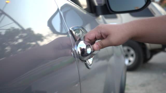 slow motion open car door - sportello d'auto video stock e b–roll