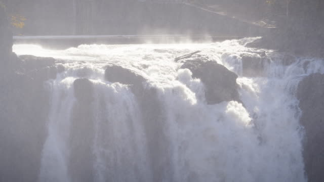 Slow Motion Pan Down Snoqualmie Falls Waterfall Mist Stock