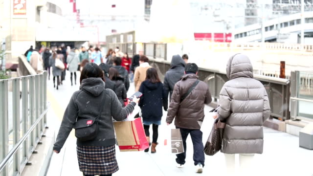 hd スローモーション: 歩行者の通勤群衆の大阪駅から徒歩 - 雪点の映像素材/bロール