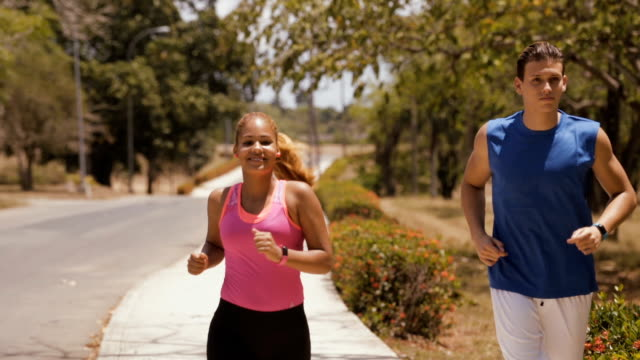 Slow motion People Doing Sports Fitness Running Smiling video