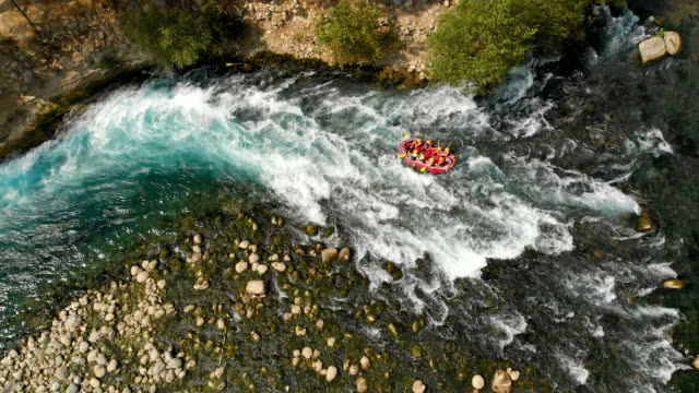 Slow Motion Rafting in a River Koprulu Canyon, Manavgat River, Antalya, Turkey conquering adversity stock videos & royalty-free footage