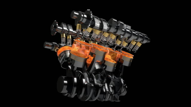 Slow Motion Rotating V8 Engine Animation With Explosions - Loop video